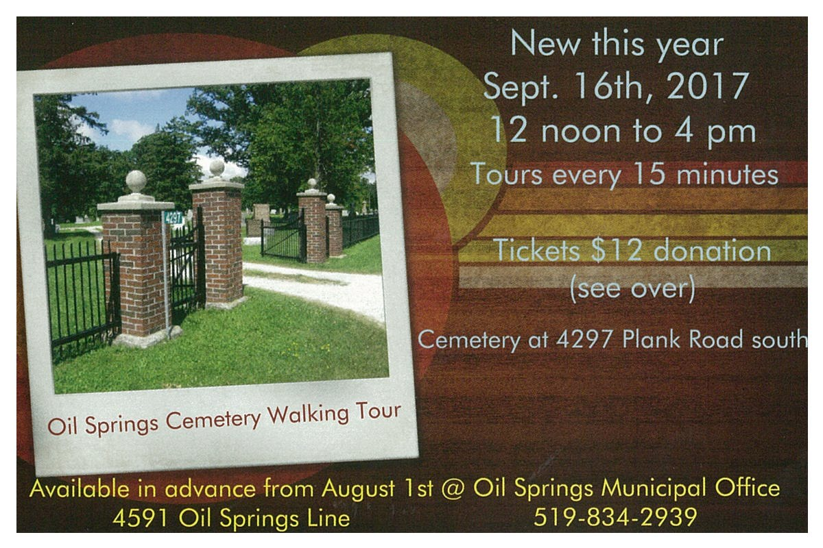 Oil Springs Cemetery Walking Tour @ Oil Springs Cemetery | Oil Springs | Ontario | Canada