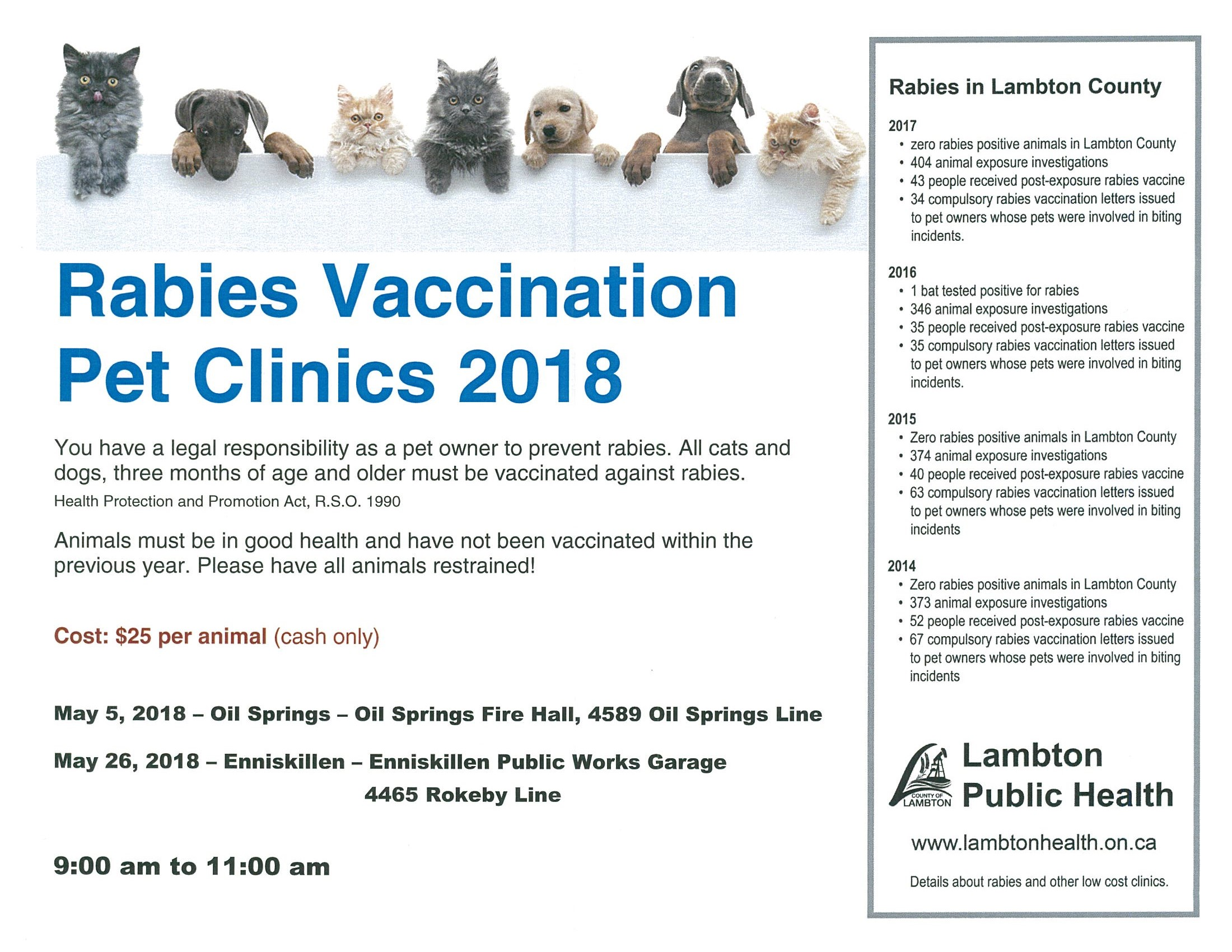 Rabies Vaccination Clinic @ Oil Springs Fire Hall | Oil Springs | Ontario | Canada