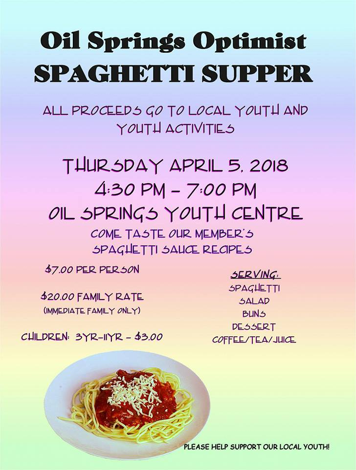 Spaghetti Supper @ Oil Springs Youth Centre | Oil Springs | Ontario | Canada