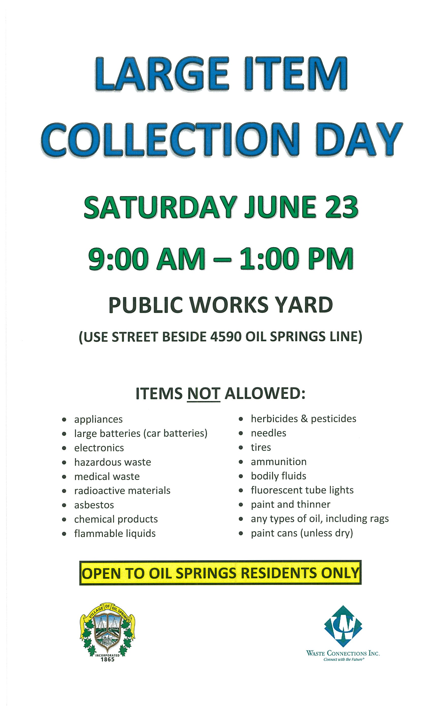 Large Item Collection Day @ Public Works Garage | Oil Springs | Ontario | Canada