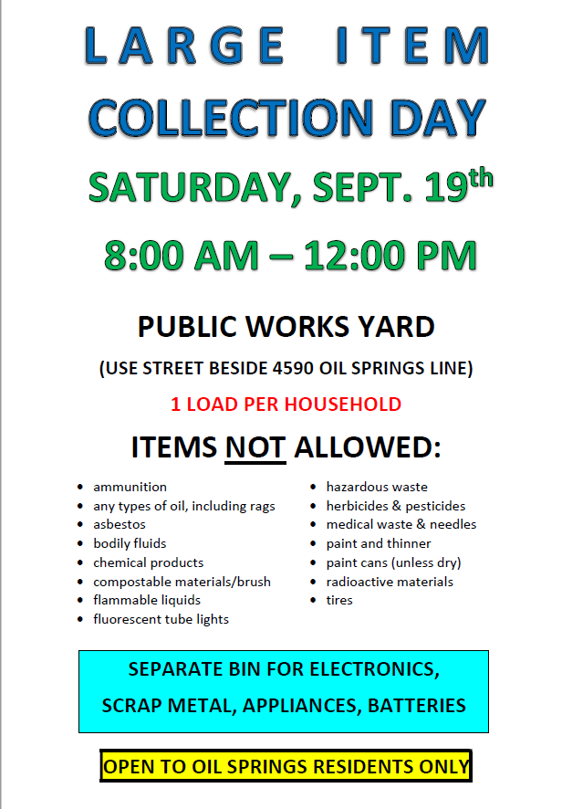 Large Item Collection Day @ Large Item Pick Up Day (Village Residents ONLY)