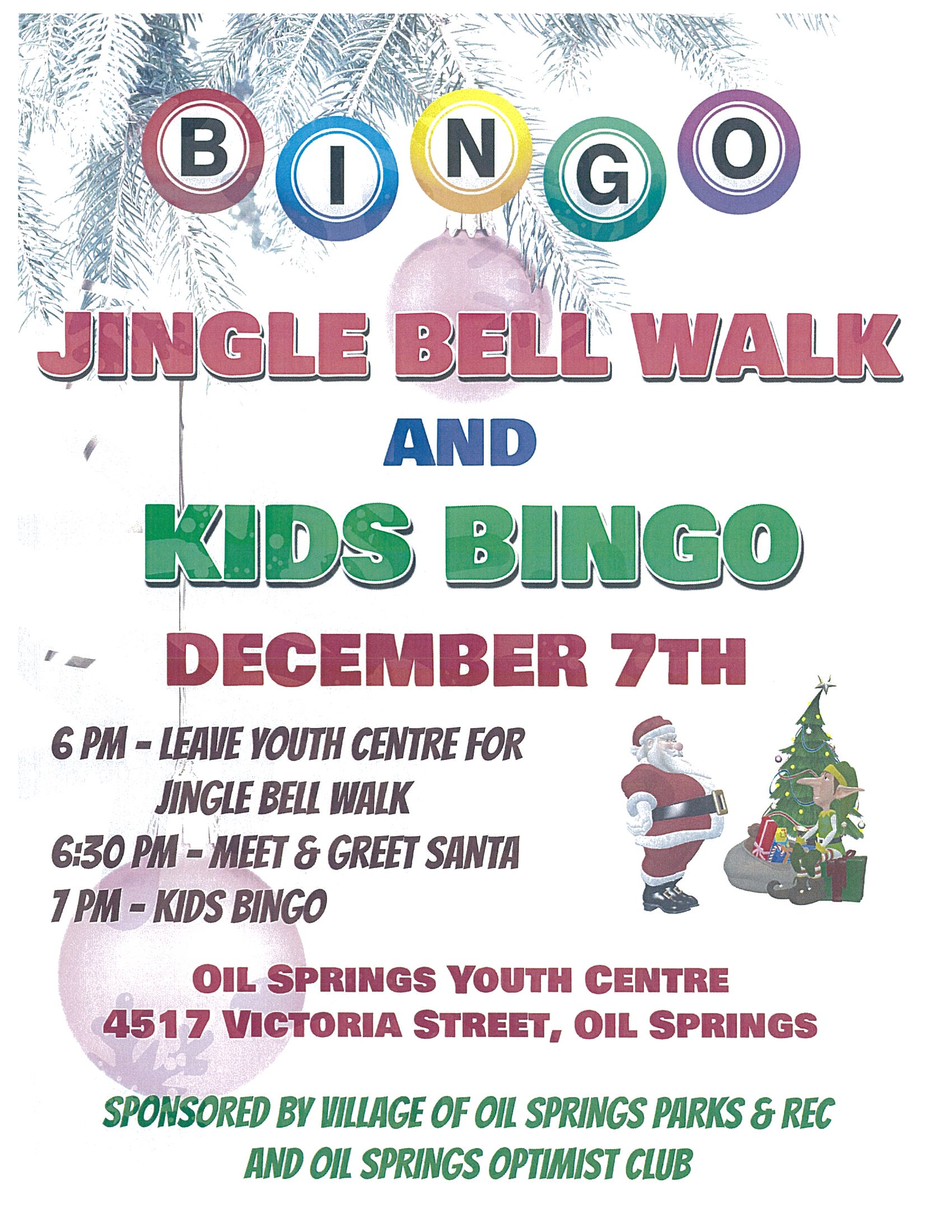 Jingle Bell Walk & Kids Bingo @ Oil Springs Youth Centre
