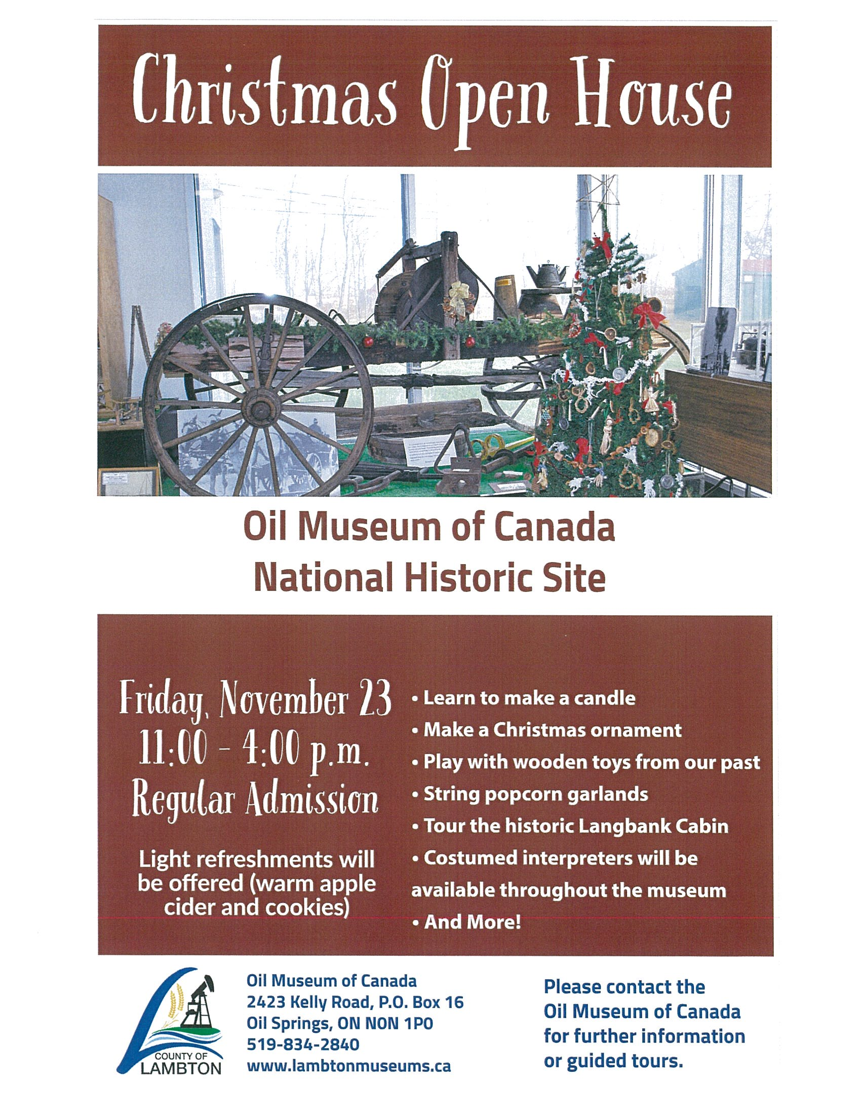 Christmas Open House @ Oil Museum of Canada | Oil Springs | Ontario | Canada
