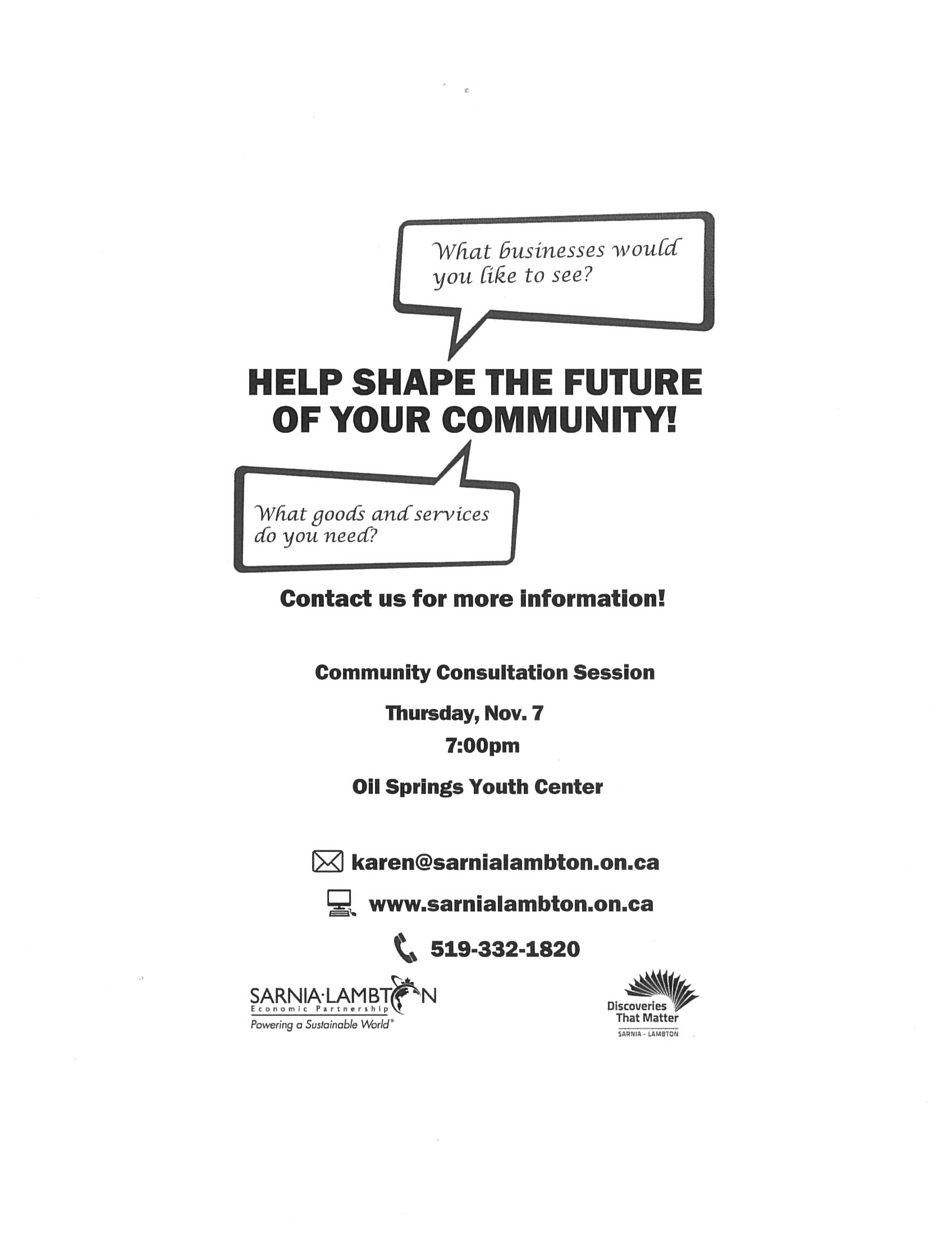 COMMUNITY CONSULTATION SESSION @ Oil Springs Youth Centre