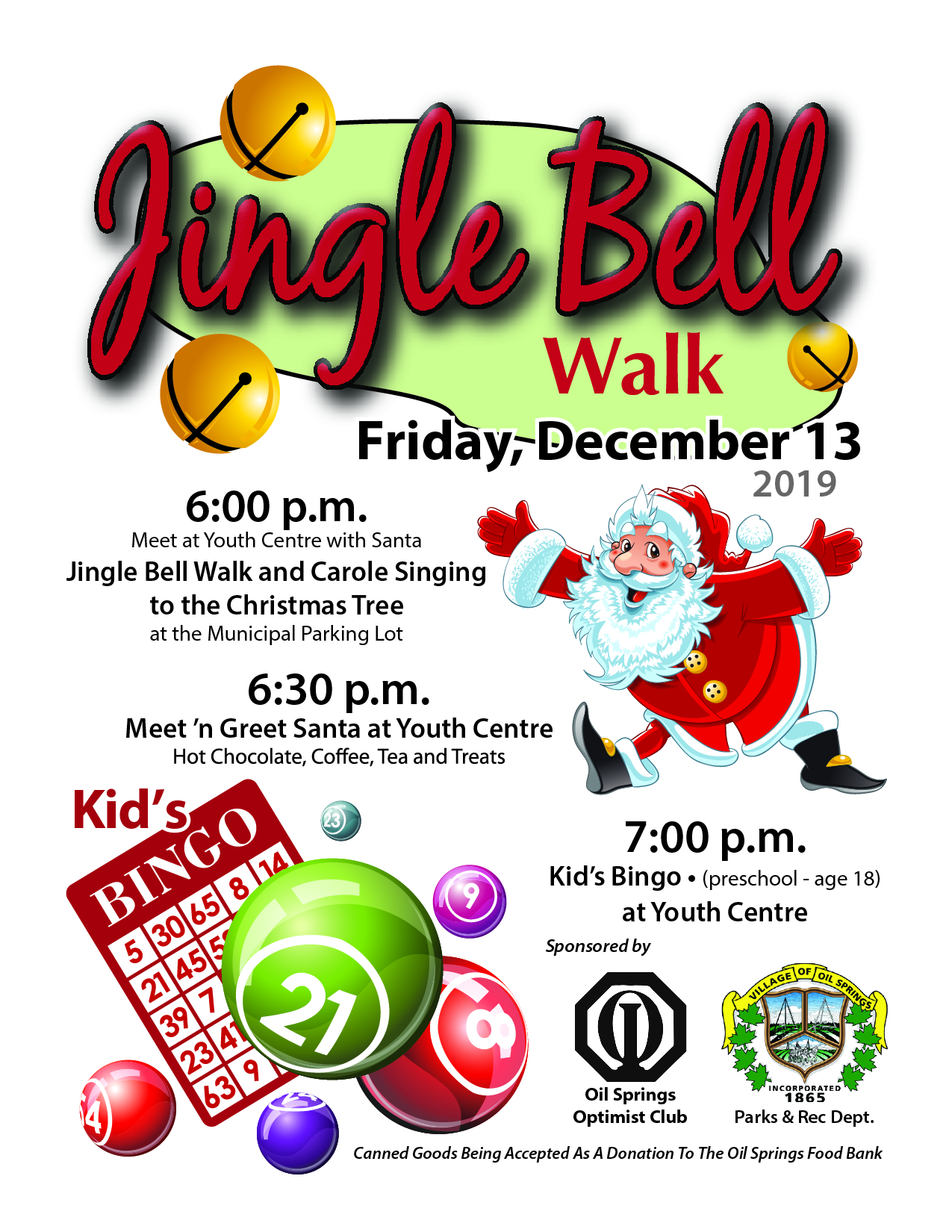 Jingle Bell Walk and Kids Bingo @ Oil Springs Youth Centre